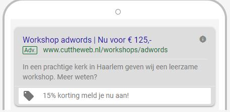 Promotie-extensie binnen Google Adwords
